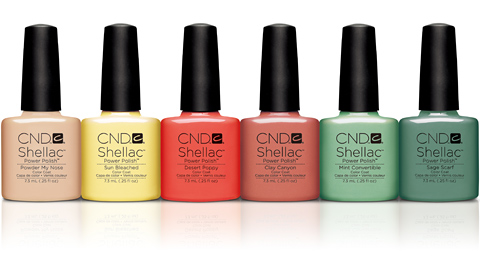"CND シェラック ""Open Road""コレクション全6色/左からPowder My Nose、Sun Bleached、Desert Poppy、Clay Canyon、Mint Convertible、Sage Scarf"