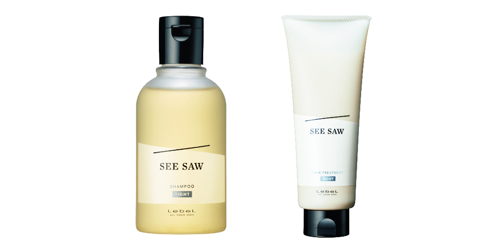 TIGHT 左から、SEE/SAW ヘア&スキャルプシャンプーT、SEE/SAW ヘアトリートメントT